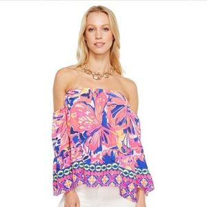 Lilly Pulitzer NWOT Sanilla silk off-shoulder top